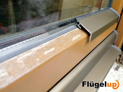 Flügelabdeckprofil für Holzfenster Wetterschutz Aluprofil Wetterschenkel